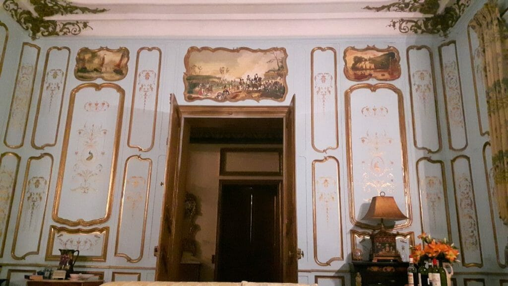 Blue-sitting-room-Chateau-Sommesnil-Normandie-Grand-Chateau-France-Available-bookings-holidays-weddings