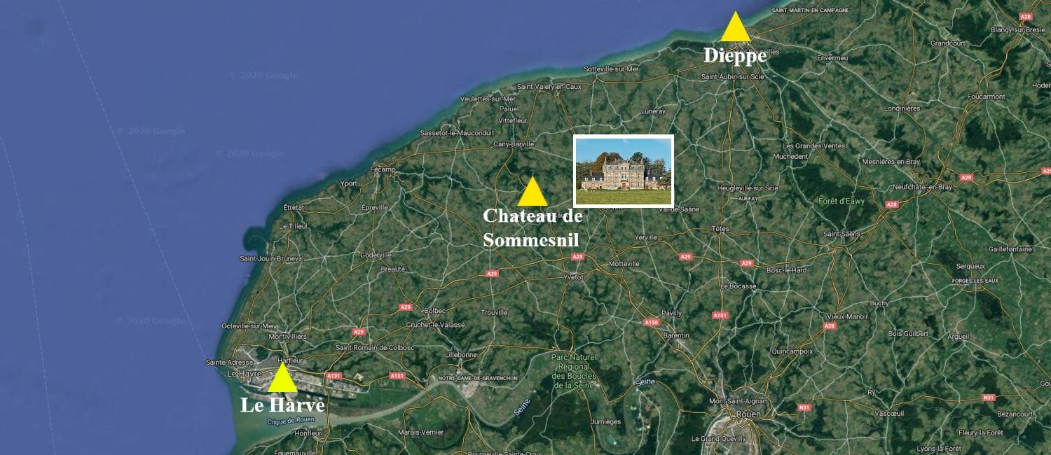 MAP-Chateau-Sommesnil-Normandie-Grand-Chateau-France-Available-bookings-holidays-weddings